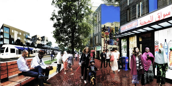 Mock up of possible West Portland Town Center showing MAX, people on sidewalk, businesses and housing