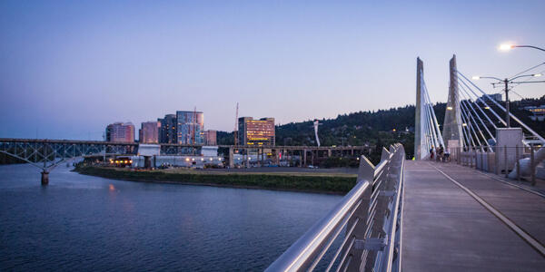 View of Willamette River and South Waterfront from east end of Tilikum Crossing