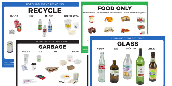 Four different recycling posters