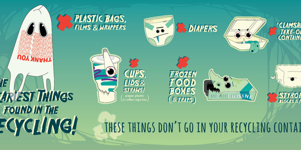 A 2d illustration of styrofoam, plastic bags, and other things that aren't recyclable
