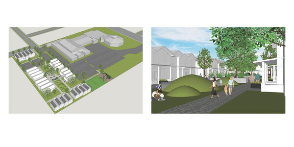 Two 3D renderings side-by-side, on the left: an aerial view of land and on the right: a pedestrian path