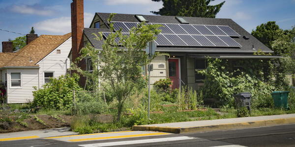 A house with solar panels on the roof and greenery in the yard