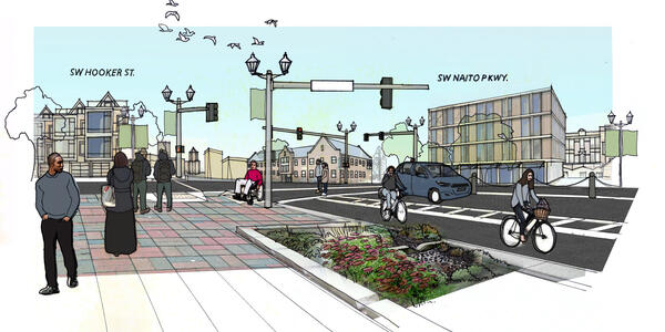 A 2d illustration showing the intersection of SW Hooker Street and SW Naito Parkway