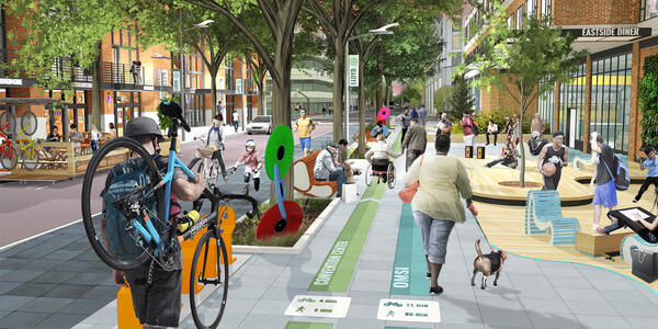A rendering of what the green loop could look like, with pedestrians and bicyclists