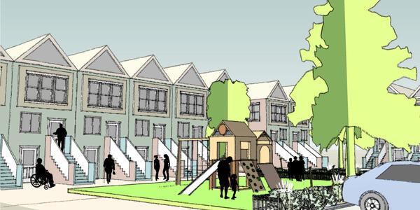 An illustration of townhomes with a park in front of them, people walking around and playing