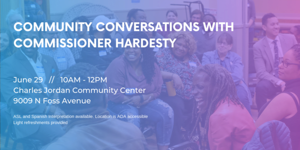 Flyer for Community Conversations with Commissioner Hardesty