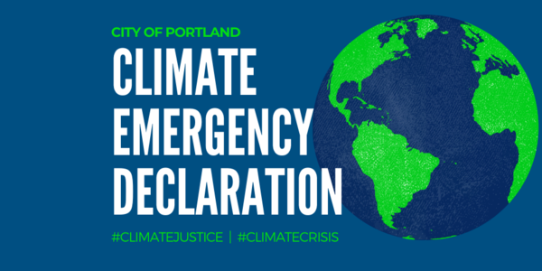 Illustration of Earth with text overlay Climate Emergency Declaration