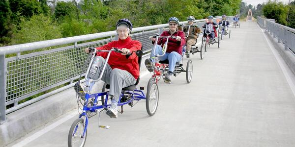 Senior Recreation - Group cycling excursion