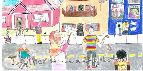 Hand drawn poster by a student artist celebrates community and fair housing