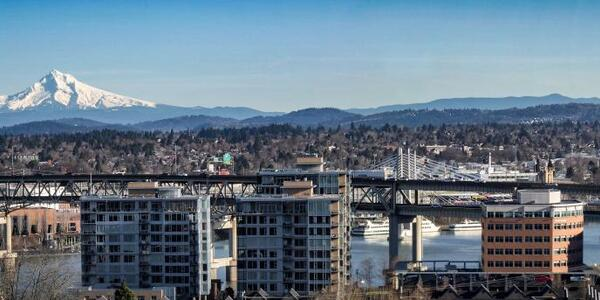 Blue skies above Mt Hood and the Marquam and Tilikum Bridges