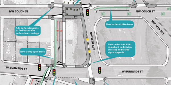 W Burnside Safety Project I-405 Crossing Improvements map