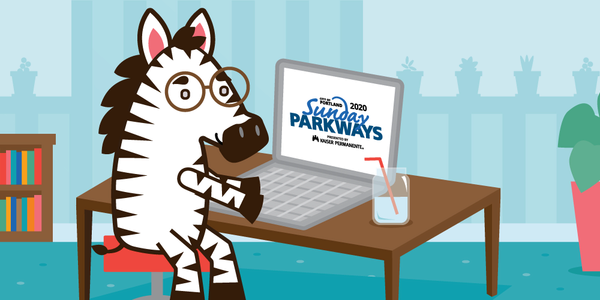 Zebra SP Mascot taking online quiz
