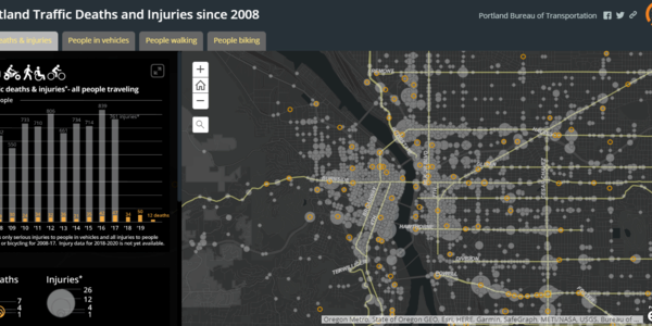 Screenshot of interactive Vision Zero Crash Map. Map shows crashes in Portland dating back to 2008.