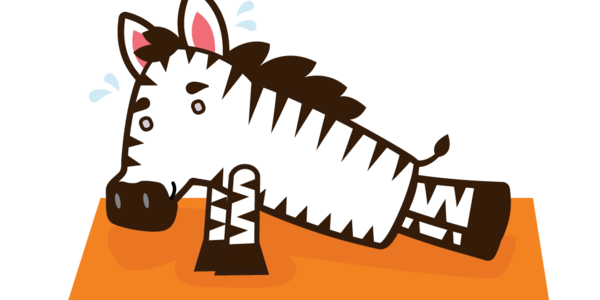 An animated Zebra doing a push-up