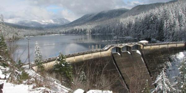 Image of Bull Run Dam 1 with a light dusting of snow