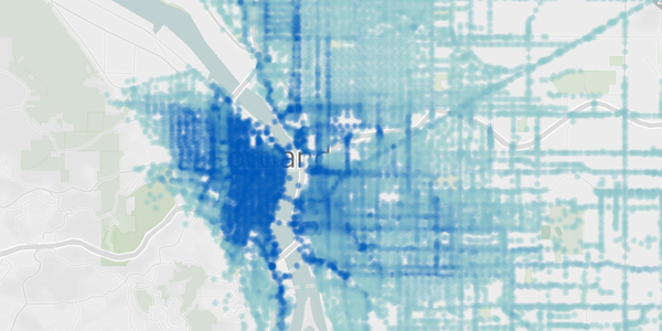 Screenshot of Tableau dashboard showing heat map of routes traveled by E-Scooter