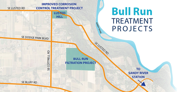 map of Bull Run Treatment Projects in east Multnomah County, including the Improved Corrosion Control Treatment project off of Lusted Road and the Filtration project between Dodge Park Blvd and Bluff Road