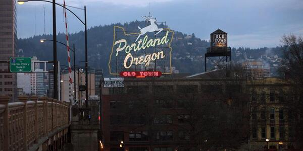 The focus of this picture is the Portland, Oregon stag sign at the end of the Burnside bridge. The picture is at dusk, as the stag sign is lit, and potentially during the winter as the tress are barren and the sky is overcast.