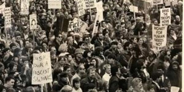A photo of Portland's Gulf War protests including Commissioner Eudaly.
