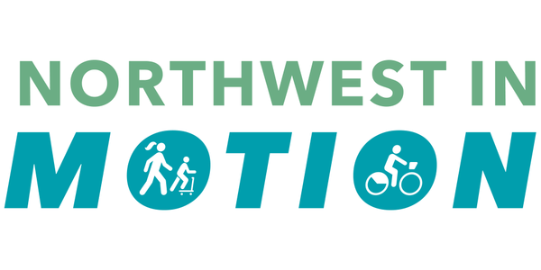 Logo for the Northwest in Motion plan with icons of figures walking, scooting, and biking inside the Os of the word Motion.