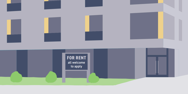 "Apartment building entrance with a sign ""For Rent, all welcome to apply"""