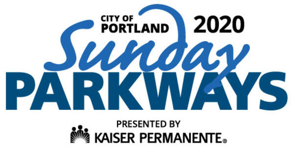 The Portland Sunday Parkways Logo that reads: City of Portland 2020 - Sunday Parkways - Presented by Kaiser Permanente