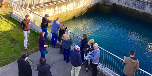 Image of Site Advisory Group members touring a filtration treatment site in Wilsonville