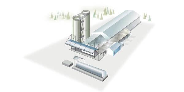 Illustration of the Improved Corrosion Control Treatment facility that includes a long building with two tall silos on the left and a utility water pump station in front