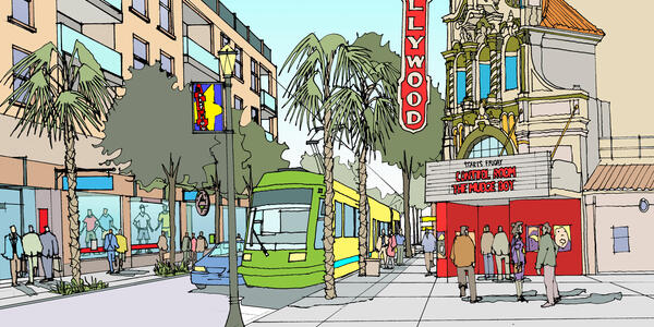 Illustration of streetcar in front of Hollywood Theater