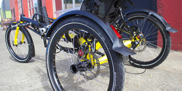 Close up of an adaptive trike.