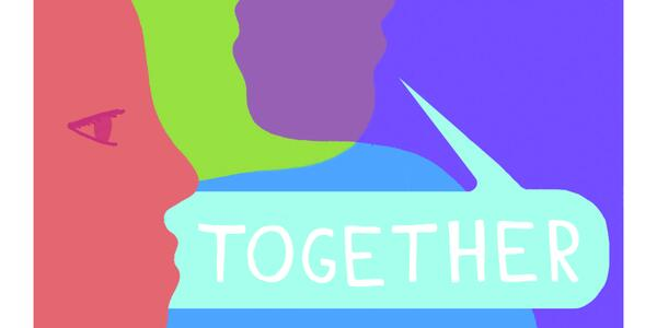 "Multicolored faces overlapping one another with the phrase ""We're in this together"""