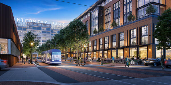 Rendering looking toward Montgomery Park with streetcar and new mixed use buildings