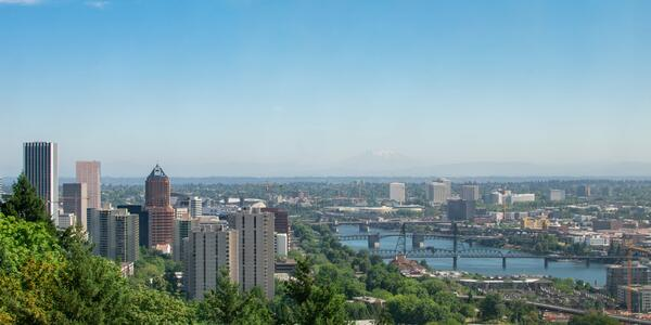 View of Portland Skyline and Willamette River