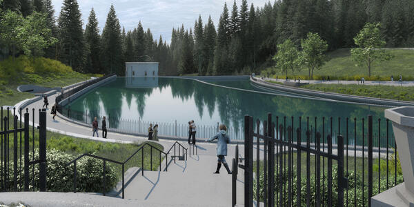 In this artist's rendering, park-goers stroll along the reflecting pool at Washington Park Reservoir.