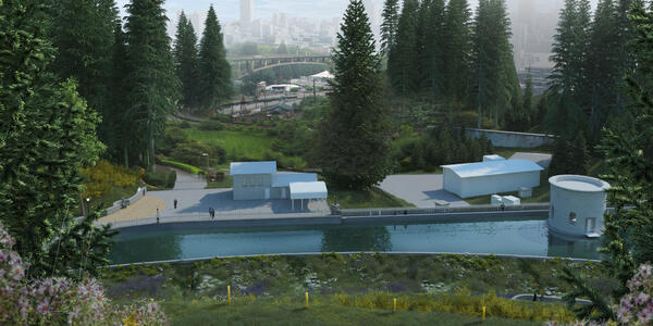 An artist rendering highlights the redesigned Reservoir 4, with a riparian meadow in the foreground and the Vista Bridge and Downtown Portland in the background.
