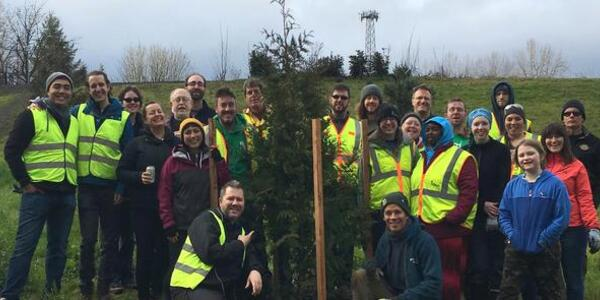 Volunteers and staff helped plant trees in Chimney Park.