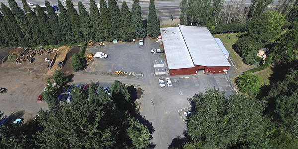 Aerial view of Urban Forestry red barn and parking lot