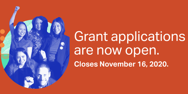 "Colorful collage with PCEF coalition members with headline: ""Grant applications are now open. Closes November 16, 2020."""