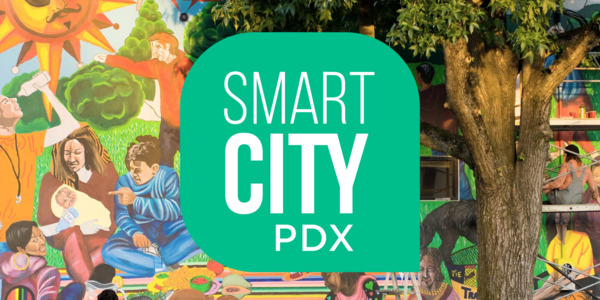 Outdoor mural with Smart City PDX logo