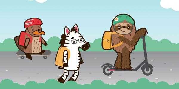 Safe Routes to School logo with animated animals walking, skateboarding and riding a scooter
