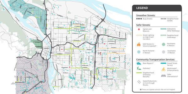 A map of transportation projects in Portland funded by Fixing Our Streets