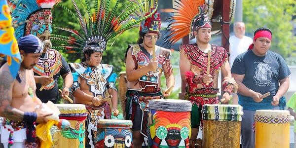 A photo of Aztec Drummers at the People of the Drum event at Gateway Discovery Park.