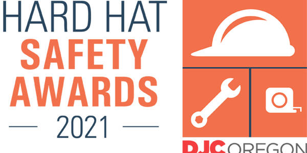 This image is a logo for the Daily Journal of Commerce's 2021 Hard Hat Safety Awards.
