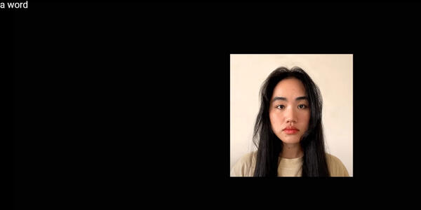 A screen shot of a video about the uptick in violence against APPI communities. The image shows a headshot of a young Asian woman.