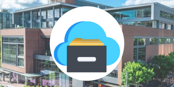 Icons of a cloud and a filing drawer over a photograph of the exterior of the Archives and Records Management facility at Portland State University.