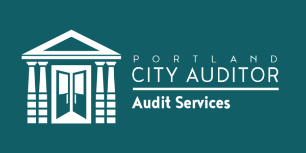 The logo of Audit Services is an illustration of City Hall's doors opening and symbolizing openness and transparency.