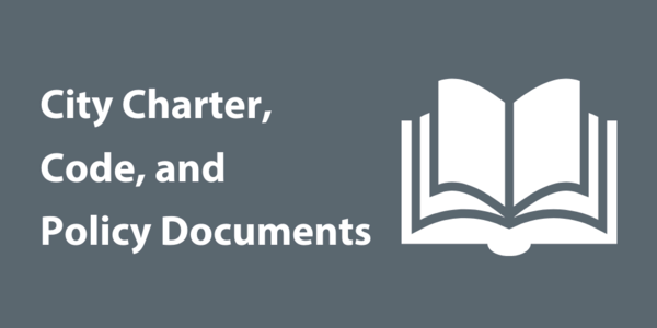 "An icon of an open book on a gray background and text that says, ""City Charter, Code, and Policy Documents"""