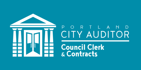 "Blue background, white image of a building with four pillars and two open doors with white text ""Portland City Auditor, Council Clerk & Contracts"""