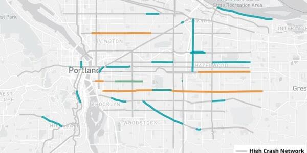 Map of Portland showing the major streets of the High Crash Network in grey and, along these streets, blue, orange, or green lines to indicate where safety projects have been completed, started, or starting soon.