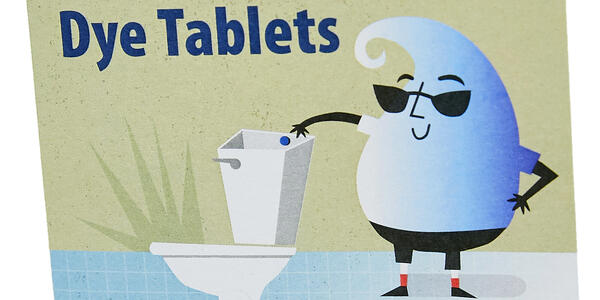 "Text that says ""Toilet Leak detection Dye Tablets"" with a graphic of a light blue water drop wearing sunglasses and dropping a leak detection tablet in the toilet"